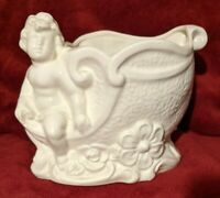 "Vintage Cupid Angel Cherub Large Planter Glossy White Ceramic - Marked ""Japan"""