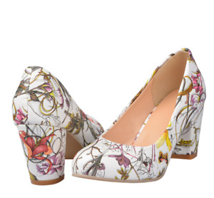 Women's Block High Heel Floral Round Toe Shoes Sexy Pumps Chunky Sandals Slip On