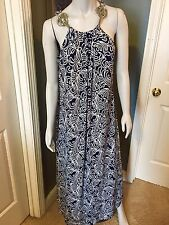 NWT New Ladies Mt Collection Blue & White Swirl Maxi Dress XL Extra Large