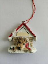 Wire Fox Terrier Doghouse Christmas Ornament with Blank Name plate, Brand New!