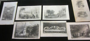 Antique Lot Of 7 Book Page Engravings