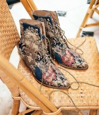 Free People Jeffrey Campbell Grove Lace Up Blue Paisley Western Boots ☮ Size 7