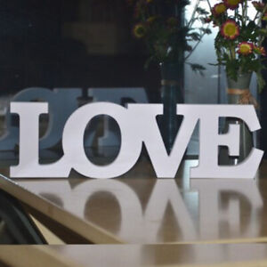 White Wooden Free Standing LOVE  Letters Sign Wedding Home Decoration
