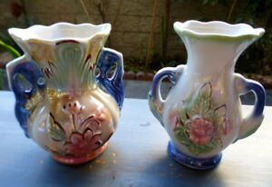 "Set of 2~60s Brazil Lustre Finish~5""tall~Flower Vases~Number 420 421~Vanity~EXCL"
