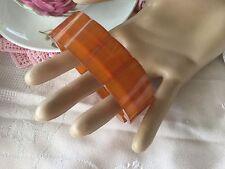 Antique Art Deco Vintage Large Amber Lucite Lozenge Bead Stretch Bracelet Bangle