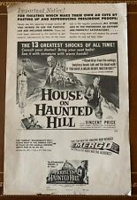Original 1959 House On Haunted Hill Press Supplement