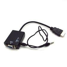 Conversor Cable Adaptador de HDMI Macho a VGA Hembra Audio Jack 3.5 1080p
