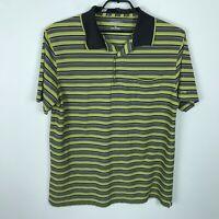 Pendleton Polo Shirt Mens Size XL Lime Green Gray Striped Short Sleeve Polyester