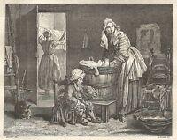 A5475 Chardin - La lavandaia - Xilografia - Stampa Antica del 1850 - Engraving