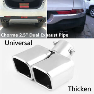 """1X 2.5"""" Stainless Steel 1to2 Car SUV Dual Exhaust Ppipe Muffler Tip Cover Silver"""