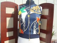 NWT Ralph Lauren Navy Blue Multi-color Gold Women Polo Vest Sleeveless Sweater P