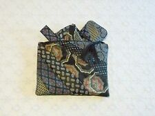 Handmade Recycled Vintage Black Silk Patchwork Tie Necktie Suede Clutch Handbag