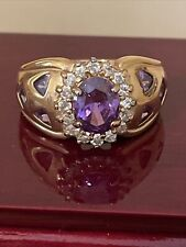 Ring Band 9 Grams Size 9 3/4 Beautiful 925 Gold Tone Amethyst Cubic Zirconia
