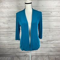 Chico's Travelers Womens Slinky Open Front Cardigan Size 0 Small Teal 3/4 Sleeve