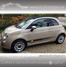 2 FASCE ADESIVE FIAT 500 ITALIA + 2 LOGHI 500 AUTO TUNING STICKERS DECAL