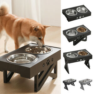 Raised Dog Bowl for Large Dogs Double Elevated Stainless Steel Food Water Feeder