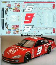 NASCAR DECAL # 9 DODGE DEALERS 2001 DODGE R/T BILL ELLIOTT 1/24 SLIXX