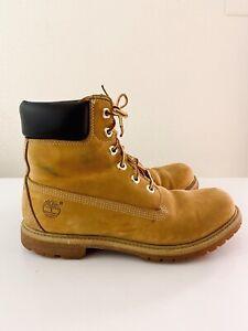 Timberland Premium Leather Waterproof Boots 10361 Wheat Nubuck Womens Size 10M