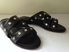 NEW! Rebecca Minkoff Black Pebbled Leather Silver Studded Flats Sandals 7 M $145