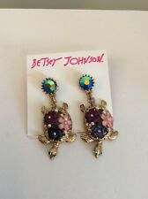 Betsey Johnson Goldtone Turtle Mismatch Drop Earrings $35 In To The Blue  BE5