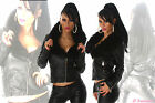giacca donna imbottita ecopelle&pelliccia sintetica nera tg 40,42,44,46