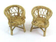 """Wicker/Rattan Miniature Doll House Fan Back Chairs 4 3/4"""" T Vintage Lot of (2)"""