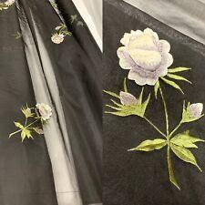 1950-60s Vintage Fabric~Sheer Black Organza w/3D Rose 42 Wide Bolt 4 2/3 Yards
