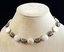 """Necklace Coin Pearl Silver & Black Onyx 16"""" 18"""" 925 Sterling Silver Handmade USA"""