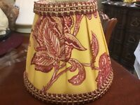 Custom Covered Lamp Shade-Red & Yellow Large Floral Print W/Trim-Beautiful :-)