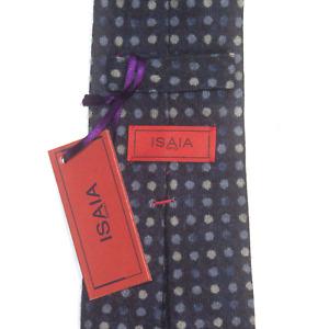 Mens Isaia 100% Wool Navy Blue Polka Dot 7 Fold Neck Tie