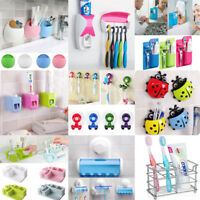Cartoon Toothbrush Wall Mounted Holder Sucker Bathroom Suction Cup Organizer