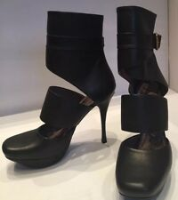 Stunning Lanvin Black Leather Cutout Boots, Brand New, Size 36, UK 3