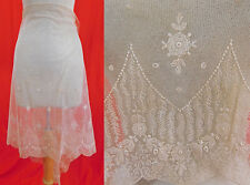 Vintage Unused Off White Cream Net Tambour Embroidery Lace Dress Skirt Fabric