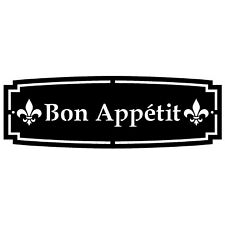 """24"""" x 8"""" BON APPETIT SIGN RAW STEEL 1/8"""" THICK RUSTIC KITCHEN ART FRENCH"""