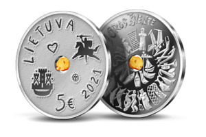 Lithuania 2021 silver amber coin 5 Euro the Sea Festival