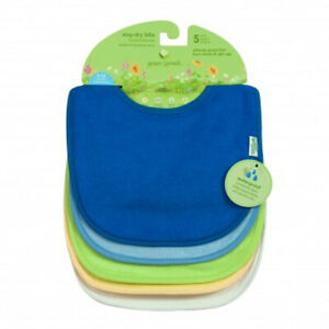 Closeout Priced - Green Sprouts Stay-Dry Infant Bibs (5 Pack-Blue Combo)