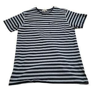 Burberry London Mens T-Shirt Size M Slim Fit Blue Gray Stripe Short Sleeve
