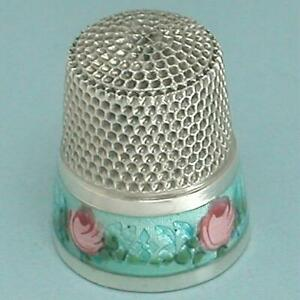Antique Enameled Roses Band Sterling Silver Thimble * American * Circa 1900s