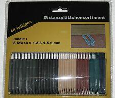 50 Pack Distanzplättchen Unterlegkeile 48 tlg. 1-6 mm Montagekeile Verlegekeile