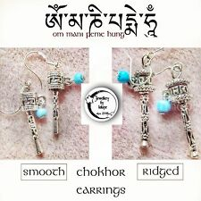Tibétain bouddhiste Chokhor prayer wheel Boucles d'oreilles ཨ མ ཎ པད ཧ ᴏᴍᴹᴬᴺᴵᴘᴇᴍᴇᴴᵁᴺᴳ