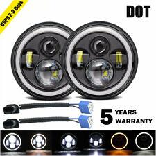 "Pair 7"" INCH 280W LED Headlights Halo Angle Eye For Jeep Wrangler CJ JK LJ 97-18"