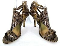 "Nine West Sandal Shoe Sz 9 Women Brown Snake Print Leather Gladiator 4"" Heels"