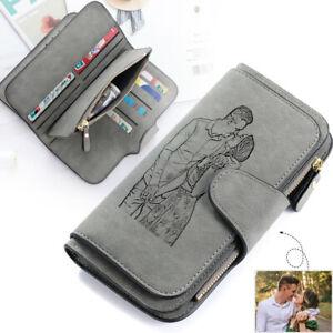 Personalised Men Wallet Purse Photo Leather Men Women Handbag Birthday Xmas Gift