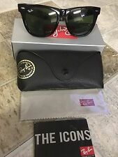 NEW Original Black Wayfarer Ray Ban Sunglasses RB2140 901 50mm Unisex Green Lens
