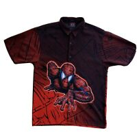 Spiderman All over Print Shirt Med Button Up Changes Movie Promo Marvel Comics