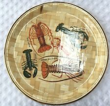 """Southern Rock Lobster Woven Bamboo Look 11"""" Round Serving Tray Goldtone Souveni"""