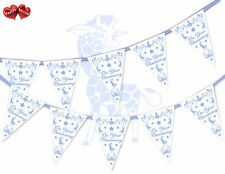 On Your Christening Blue Giraffe Themed Bunting Banner 15 flags UK