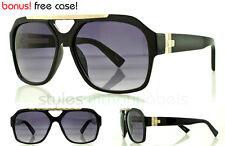 Black Retro Plastic Aviator Sunglasses Smoke 80s Turbo