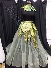 Grandinroad Halloween Leaf Garden Tulle Fairy Skirt Collar Costume Green L/XL