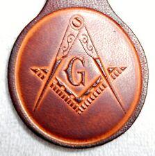 Four pack of Leather Masonic Keychains, lot of 4 Key Fobs Mason Lodge Freemason